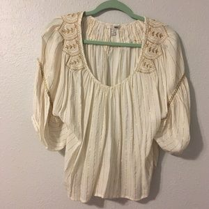 Amuse Society gold and cream pleasant blouse